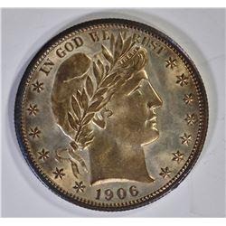 1906-D BARBER HALF DOLLAR CH BU TONED