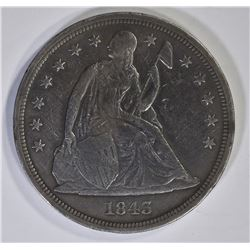 1843 SEATED LIBERTY DOLLAR VF SCRATCHES