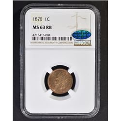 1870 INDIAN CENT, NGC MS-63 RB CAC CERTIFIED