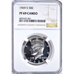 1969-S KENNEDY HALF NGC PF-69 CAMEO