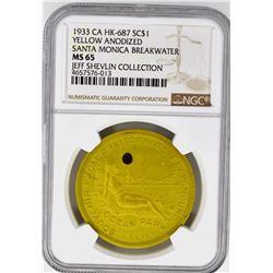 1933 CA HK-687 SO CALLED DOLLAR, NGC MS-65