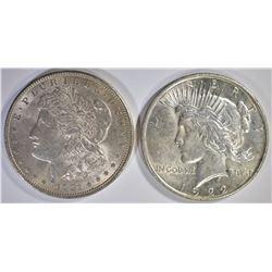 1921 AU/BU MORGAN & 1922 CH BU PEACE SILVER DOLLAR