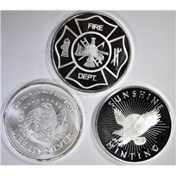 3-ONE OUNCE .999 SILVER ROUNDS