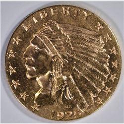 1925-D $2.50 GOLD INDIAN, CH BU