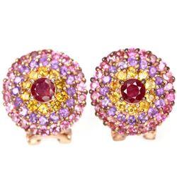 Natural RUBY CITRINE AMETHYST TOURMALINE Earrings