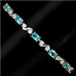 Natural Oval Neon Blue Apatite 60 Carats Bracelet
