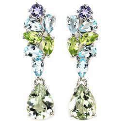 Natural AMETHYST PERIDOT TANZANITE TOPAZ earrings