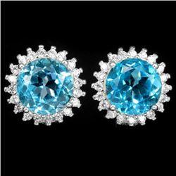 Natural AAA SWISS BLUE TOPAZ Earrings