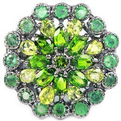 Natural Emerald Peridot & CH-Diopside Ring