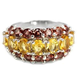 NATURAL ORANGISH YELLOW CITRINE & RHODOLITE Ring