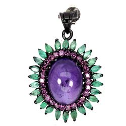 Natural Columbian Emerald Amethyst Garnet Pendant