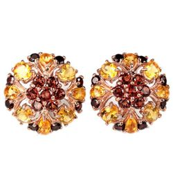 NATURAL AAA DARK ORANGE RED GARNET CITRINE Earrings