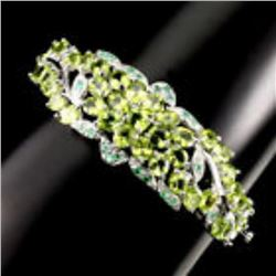 Natural Oval 5x4mm Green Peridot Emerald Bangle
