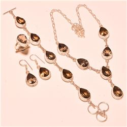 INCREDIBLE 4 PIECE IMPERIAL TOPAZ JEWELRY SET.