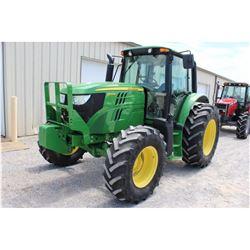 2014 JOHN DEERE 6105M FARM TRACTOR --VIN/SN:789244 ::MFWD, 3 REMOTES, CAB, A/C, 18.4R34 REAR TIRES,