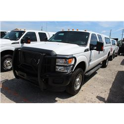 2015 FORD F350 PICKUP TRUCK --VIN/SN:1FT8W3BT3FED09709 ::4X4, CREW CAB, V8 DIESEL, A/T, CAMPER SHELL