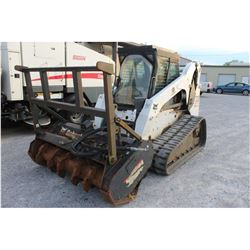 BOBCAT T320 SKID STEER LOADER --VIN/SN:A7MP11810 ::CRAWLER, MULCHING HEAD, CAB, A/C, 1,050 HOURS