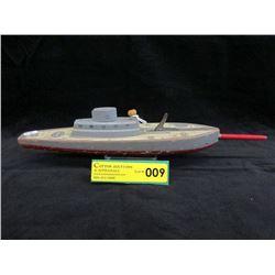1940s Rare Wood Keystone Torpedo Submarine