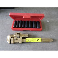 Nit Metric Impact Socket Set & #14 Pipe Wrench