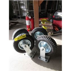 """Set 4 New 8"""" Commercial  Air Tire Wheels"""