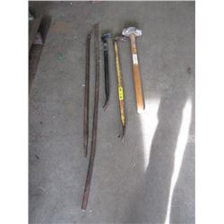 Sledge Hammer & 4 Pry Bars