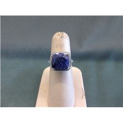 Blue Sapphire & Diamond Solitaire Ring
