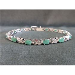 3 CTW Emerald & Diamond Tennis Bracelet