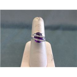Sterling Silver Amethyst & Diamond Crossover Ring