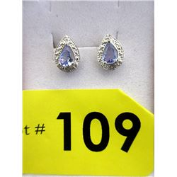 New Pear Cut Tanzanite & Diamond Earrings