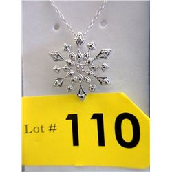 Sterling Silver Diamond Snowflake Slide Pendant