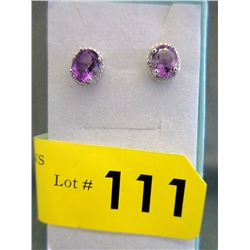 New Sterling Silver Amethyst & Diamond Earrings