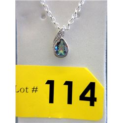 Ocean Blue Mystic Topaz & Diamond Pendant