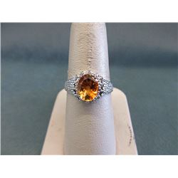 Sterling Silver Diamond & Citrine Solitaire Ring