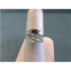 Sterling Silver Green Amethyst & Diamond Ring