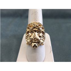 Man's Crystal Eye Jesus Motif Ring