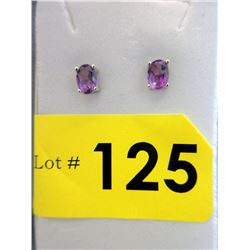 New Sterling Silver Amethyst Stud Earrings