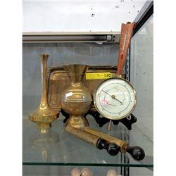 Barometer & 6 Vintage Brass items