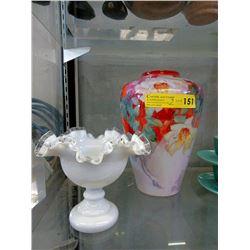 Hand Painted Bavarian Vase & Ruffled Glass Bowl