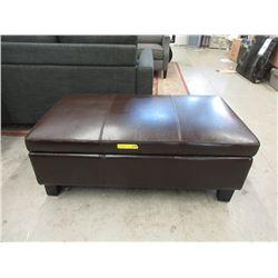 New Brown Leather Stylus Storage Ottoman