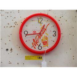 "Vintage 10"" McDonalds In Store Wall Clock"