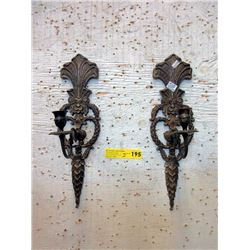 """Pair of 17"""" Tall Vintage Brass Wall Sconces"""