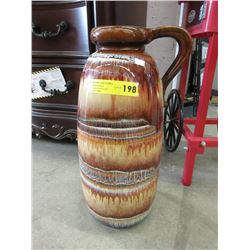 "18"" Tall West German Drip Glaze Vase"