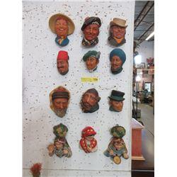 12 Vintage Character Wall Masks