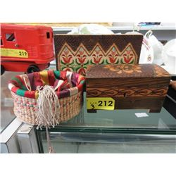 2 Hand Carved Ukrainian Wood Boxes & a Basket