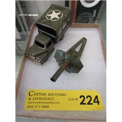 1950/1960s Tin US Army Truck with Cannon