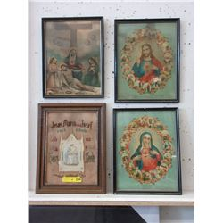 Vintage Religious Needlework & 3 Framed Prints