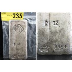 Rare 20 Oz Johnson Matthey .999 Silver Loaf Bar