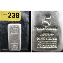 5 Oz Republic Metals Corp .999 Silver Loaf Bar