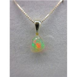 1.04 Carat Solitaire Opal Sterling Silver Necklace