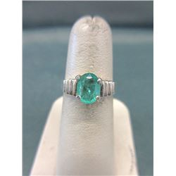1.01 Carat Oval Solitaire Emerald Ring